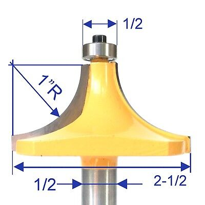 "1pc 1/2"" SH 1"" Radius Round Over Router Bit  sct-888"