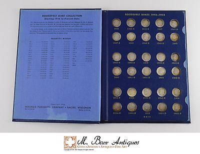 Roosevelt Head Dimes 1946-1964 Complete Circulated Coin Set nice toning *271