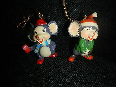 """2 Vintage 2 1/2"""" Resin/PVC Mouse Mice Christmas Ornaments"""