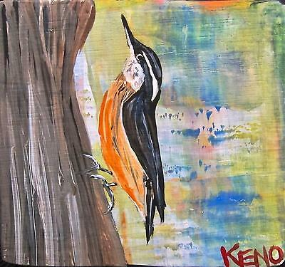 NUTHATCH~Bird Mini wood painting KENO FOLK Artist outsider~COASTWALKER~USA