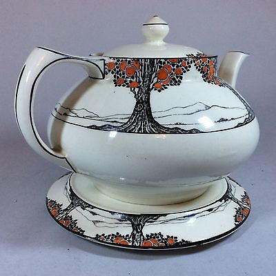 Crown Ducal Pottery Orange Tree pattern Teapot (Large) and Rare Stand - Art Deco