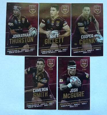 Queensland 2016 State Of Origin Collector Trading Card Set Of 5