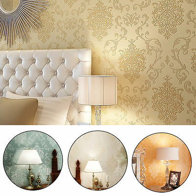 10m Simple Modern Non-woven Damask Textured Embossed Wallpaper Rolls Home Decal