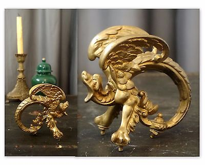 Cast Iron Griffin Hardware Handle Architectural Salvage Winged Lion Antique Find