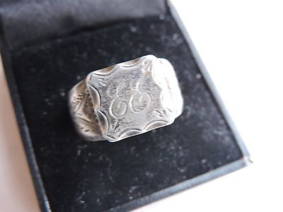 Victorian Coin Silver Signet Ring  Size 10 1/2 Ee Initials  Lowered Price