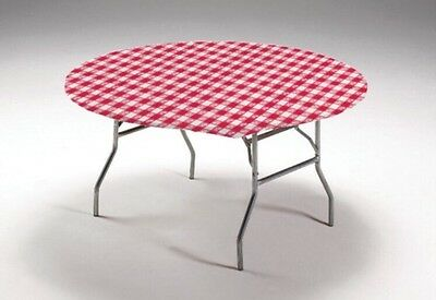 "Elastic Fitted Polyester Round Tablecloth in Red/White Check - fits 60"" round"