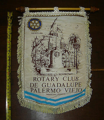 ROTARY CLUB GUADALUPE Palermo Viejo DISTR 4890 vintage PENNANT BANNER Argentina