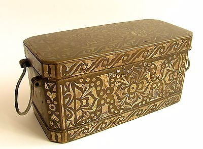 Antique Silver Inlaid Bronze Betel Nut Box Philippines L. 19th Cent Heavy ~4lbs