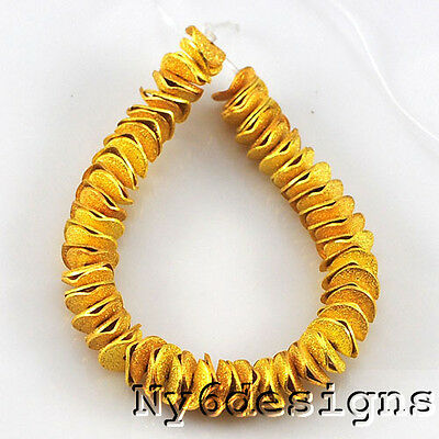 """8x8mm Gold color Brass mettend disc Space beads 6"""" (HFD27)"""
