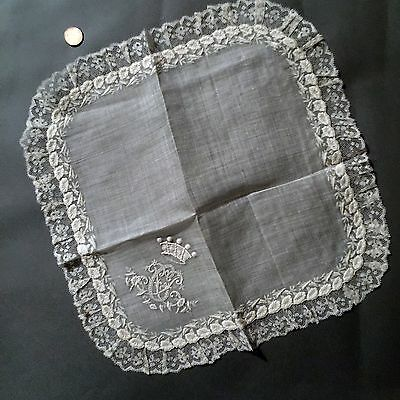 19th C.white embroidered and lace handkerchief w coronet and monogram COLLECT