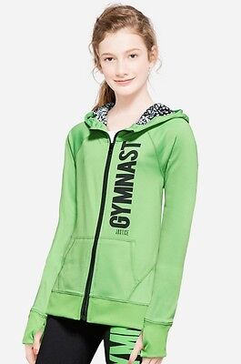 NWT JUSTICE Girls 12 Green Animal Print GYMNAST Sports Hoodie