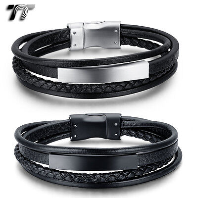 TT Genuine Leather 316L Stainless Steel ID Magnet Buckle Bracelet (BR238) NEW
