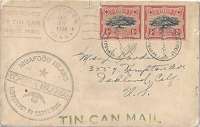 Tonga SC # 40 on 1934 Tin Can Mail Cover to Oakland California