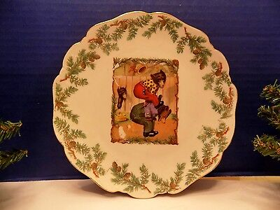 Antique 3 Bears Playing with 1 Bear Stealing Lunch Porcelain Plate