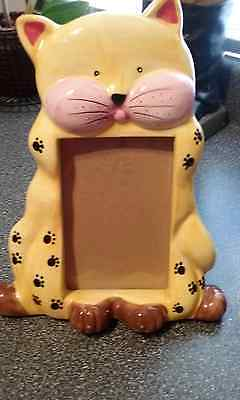Kitty Cat Picture Frame Yellow For 4X6 Pictures