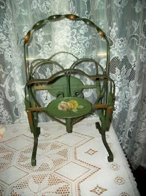 Antique Art Deco French Chic Cottage Green Heart Roses Tole Magazine Rack Shabby