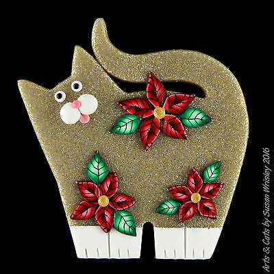 Standing Glittery Gold Kitty Cat & Poinsettia Flowers Holiday Pin - SWris