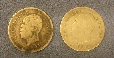 Lot of 2 Coins - Haiti 1904 & 1905 5 Centimes