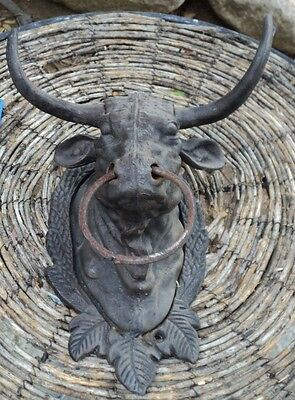 Cast Iron - Bull Head W/Ring Hitching Post Barn Cattle Steer Lodge Towel holder