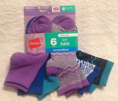 HANES~Girls~Ankle Socks-6 Pairs-Shoe Size~Med~(10.5-4)~Multi Color/Pattern~NEW