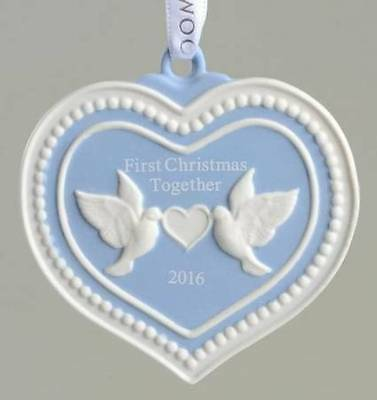 "New Wedgwood 2016 ""Our First Christmas Together"" Porcelain Blue Heart Ornament"