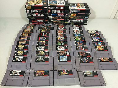 Lot of 63 Super Nintendo SNES Video Game Cartridges Some With Original Boxes NES