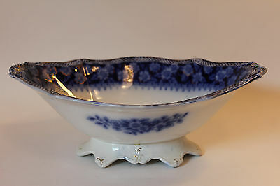 Antique Vintage Porcelain Blue & White Tazza Footed Compote Serving Dish