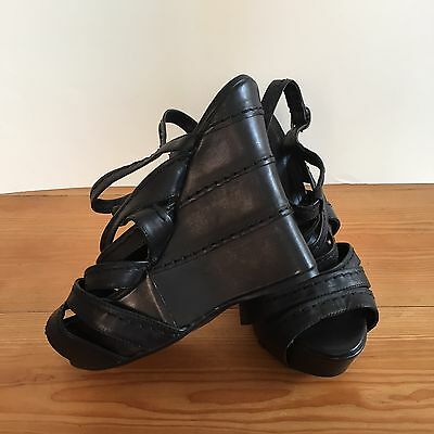 Tony Bianco 7 1/2 Strappy Platform Wedge Heel Sandal Black Leather