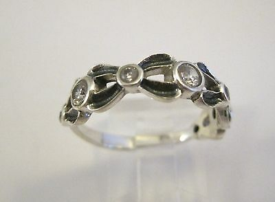 Solid Sterling 925 Silver Antiqued Clear CZ Ring Size S. Delicate