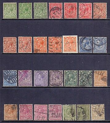 Great Britain - 28 different KG5 used stamps in various colour shades.1912/24