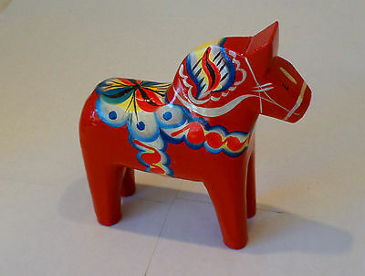 """New Red Dala Horse 5"""" Perfect Size Swedish Hand Carved/Painted w/Free Bookmark"""