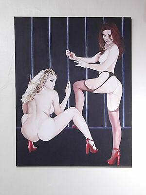 Pair of Nudes large acrylic painting on canvas - REDUCED! - signed by artist