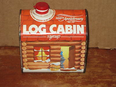 Log Cabin Syrup Tin Bottle Can 100th Anniversary 1887 - 1987 General Foods CUTE