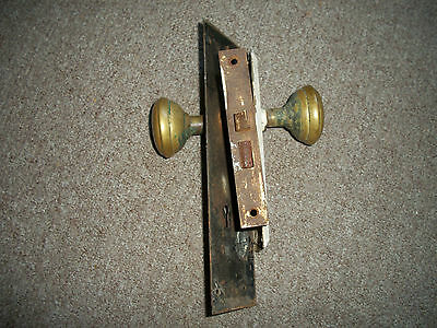 Vintage Antique Door Lock With 2 Brass Knobs Handles & 2 Large Door Plates