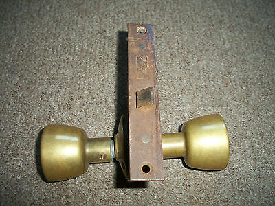Vintage Antique Door Lock With 2 Brass Knobs Handles
