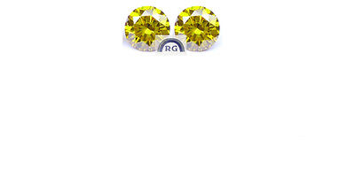 0.34 CT VS ROUND CUT Natural REAL CANARY YELLOW Color Loose DIAMOND Pair 3.3 MM