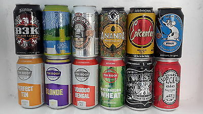 12 Different Microbrewery Craft Beer Cans from USA