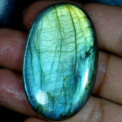 95.65Cts. 100% NATURAL FLASHING LABRADORITE OVAL CABOCHON FINE QUALITY GEMSTONES
