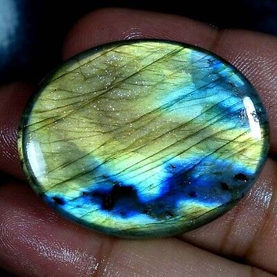 81.40Cts. 100% NATURAL FLASHING LABRADORITE OVAL CABOCHON FINE QUALITY GEMSTONES