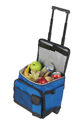 *FOLDABLE TROLLEY COOLER BAG WITH WHEELS + HANDLE -Picnics Beach Camping Travel*