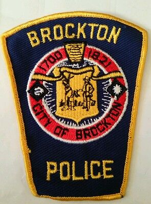 Vintage CITY OF BROCKTON (USA) POLICE PATCH fabric embroidered sew on