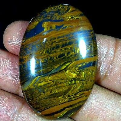123.80Cts. Natural Golden Iron Tiger Oval Cabochon Untreated Loose Gemstones