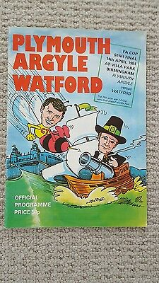 Plymouth Argyle v Watford FA Cup Semi Final 1984 Official Programme
