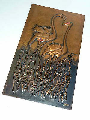 60er Plastisches KUPFERBILD 3D FLAMINGO 60s copper picture motif flamingo bird