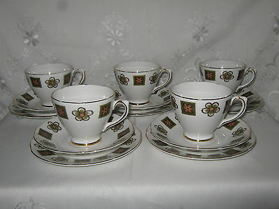 Royal Sutherland Trio's - 5 Cups, 5 Saucers & 5 Side Plates, Floral Pattern