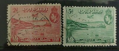 Papua 1938 Airmail 2d and 5d used c40