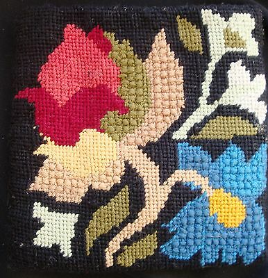 Kaffe Fassett inspired BAG Tapestry Needlepoint Pouch Pocket double sided floral
