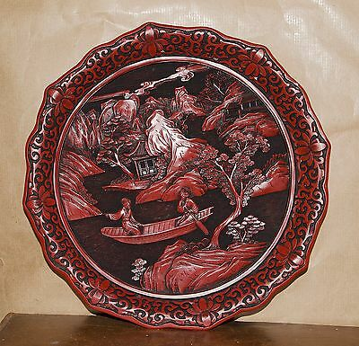 Chinese Cinnabar Plaque With Backstop