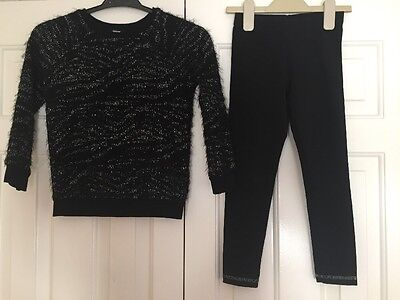Girls Black Leggings And Jumper Outfit Set Age 6-7 Years From George Silver Xmas
