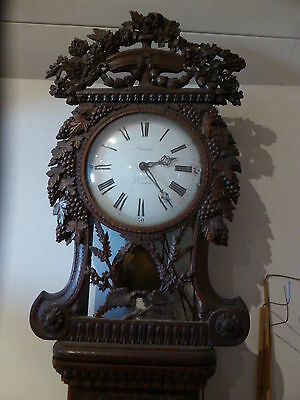 Antique French Normandy Oak Marriage Clock Longcase 18th Century
